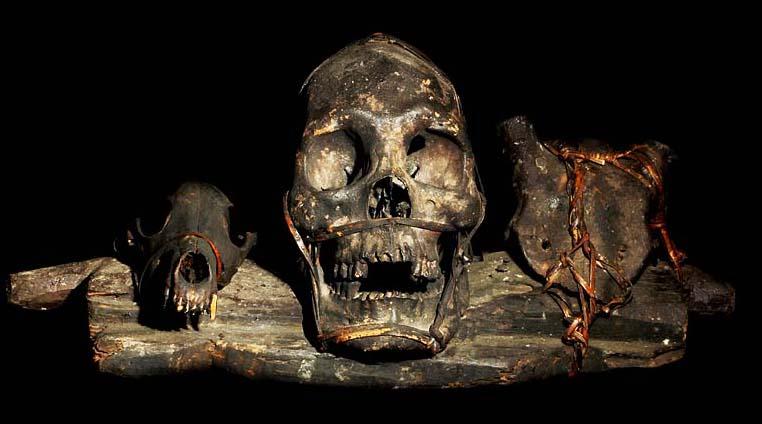 ifugao tribe head hunting human trophy skull wood rattan animal skulls ...