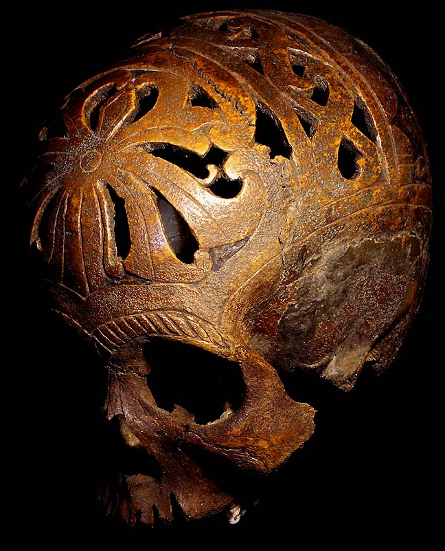 DAYAK HEADHUNTING TRIBE HAND CARVED TROPHY SKULL TRIBAL