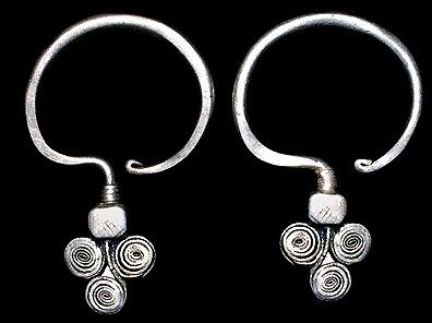 Laotian Hill Tribe Silver Earrings David Howard Tribal Art