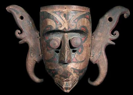 Dayak Authentic Wooden Mask Bahau Tribal Art David Howard