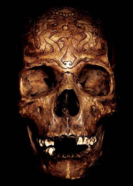 Dayak tribal skull hand carved human authentic