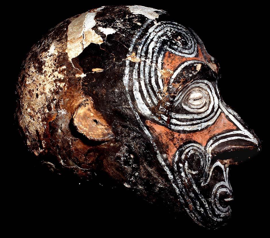 DECORATED OVER MODELED HUMAN ANCESTOR SKULL